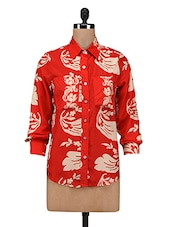 Red Floral Printed Polyester Shirt - By