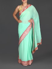 Mint Georgette Saree With Embroidered Border - Roop House