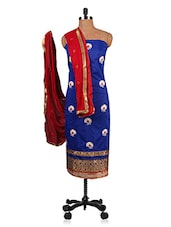 Royal Blue Embroidered Unstitched Suit Set - By