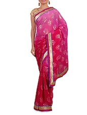 Shaded Pink Printed Saree With Gold Border - By