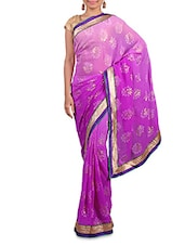 Shaded Purple Printed Saree With Gold Border - By