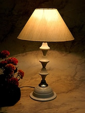 Brown Metal And Fabric Table Lamp - By