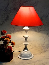 Red Metal And Fabric Table Lamp - By