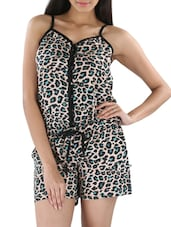 Beige Rayon Animal Print Jumpsuit - By