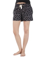 Black Cotton Printed Shorts - By