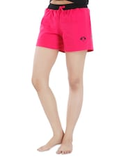 Pink And Black Cotton Shorts - By