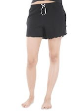 Black Cotton Shorts - By