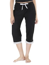 Black Cotton Capri With Lace Trim - By