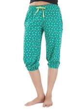 Green Cotton Printed Capri - By