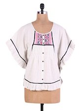 White Embroidered Cotton Top With Flared Sleeves - By