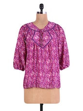 Purple Floral Print Crepe Top - By
