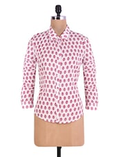 White And Pink Printed Cotton Shirt - By
