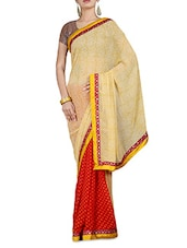 Yellow And Red Printed Chiffon Saree - By