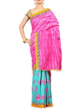 Pink And Blue Printed Art Silk Saree - By
