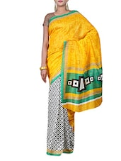 Yellow And White Printed Saree - By