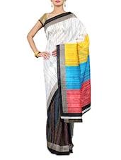 Multicoloured Printed Art Silk Saree - By