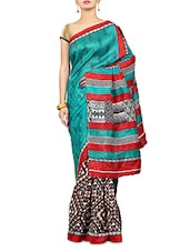 Green And Brown Printed Art Silk Saree - By
