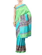 Green And Blue Printed Art Silk Saree - By