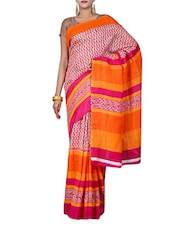Fuchsia Printed Bhagalpuri Silk Saree - By