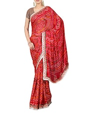 Red Pure Georgette Printed Saree - By