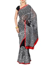 Monochrome Printed Bhagalpuri Silk Saree - By