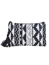 Black And White Polycotton Pouch - By