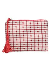 Red And White Check Pattern Cotton Pouch - By