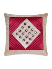 Beige And Pink Cotton Satin Cushion Cover - By