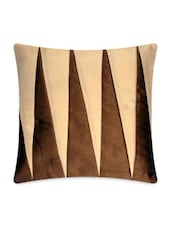 Beige And Brown Cotton Satin Cushion Cover - By