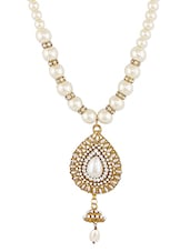 Gold Beaded Pearled Metallic Necklace - By