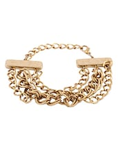 Gold Studded Metallic Chain Bracelet - By