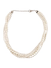 White Beaded Metallic Necklace - By