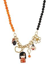 Orange Beaded Glass Metallic Necklace - By