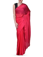 Red Plain Chiffon Saree - Vamika