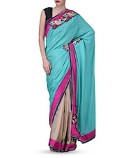 Multicolour Embroidered Zardosi Raw Silk Tissue Saree - By