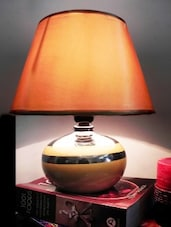 Gold Ceramic And Cotton Table Lamp - By