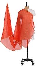 Orange Plain Tissue Dupatta - By