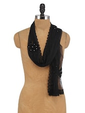 Black Beaded Net Dupatta - By