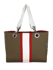 Brown Canvas Small Hand Bag - By