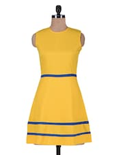 Yellow Polyester Dress With Lace Trim - By