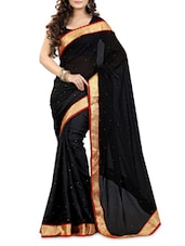 Embellished Black Chiffon Saree - By