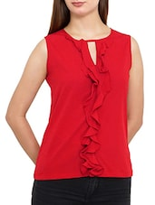 solid red poly crepe ruffle top -  online shopping for Tops