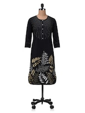 Black Zari Embroidered Printed Cotton Kurta - By