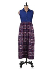 Blue Printed Cotton Kurta With Gathers - By