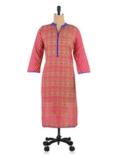 Pink Cotton Printed Kurti - By