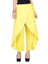 Yellow Plain Cotton Pant With Gathers - By