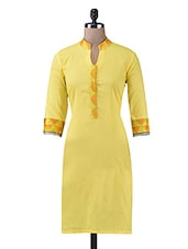 Yellow Plain Long Cotton Kurti - By