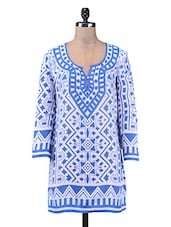 Blue Printed Cotton Short Kurti - By