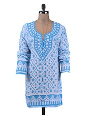 Blue Printed Cotton Short Kurti - By - 1209018