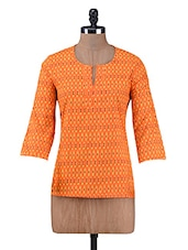 Orange Printed Cotton Top - By